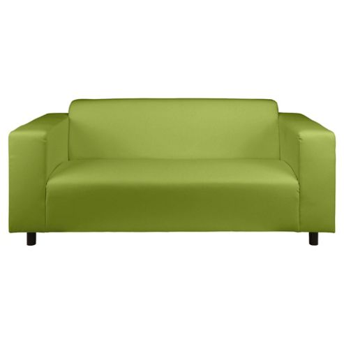 Stanza Leather Effect Medium 3 Seater  Sofa, Lime Green