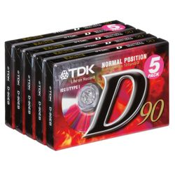 TDK D90 Audio Tapes 5 Pack
