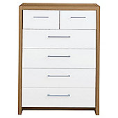 Manhattan 6 Drawer Chest, Oak Effect/White Gloss