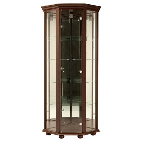 Henley 1 Door Corner Display Cabinet, Wenge-effect
