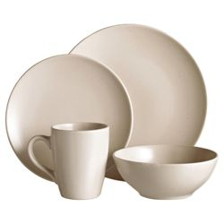 Tesco Matt 16 Piece, 4 Person Dinner Set - Cream