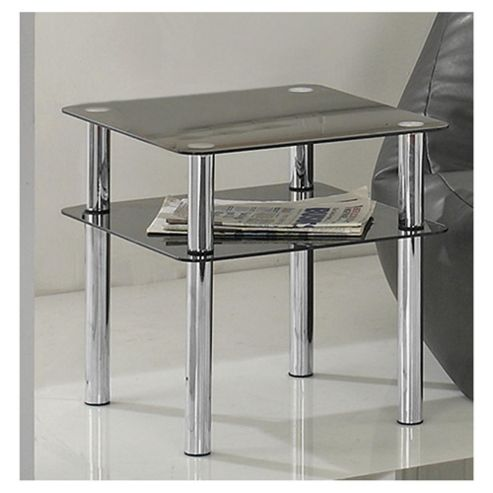 Atom Chrome & Glass Side Table With Shelf, Black