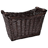 Tesco Wicker Magazine Rack With Wood Handles Chocolate Colour