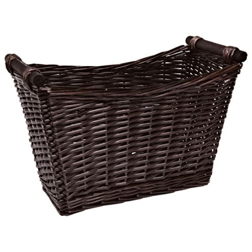 Tesco Wicker Magazine Rack with Wood Handles, Chocolate