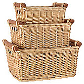 Tesco Basic Wicker Set Of 3 Baskets With Wood Handles Honey Colour