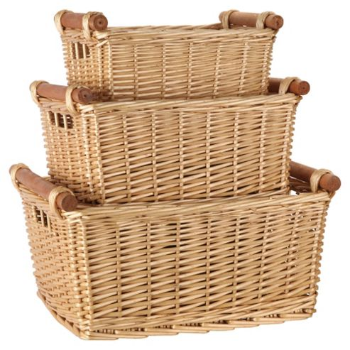 Tesco Basic Wicker Baskets with Wood Handles, Set of 3, Natural