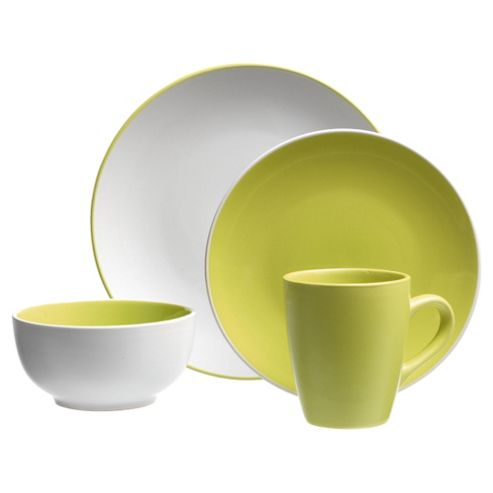 Tesco Coupe 2 Tone 16 Piece, 4 Person Dinner Set - Lime