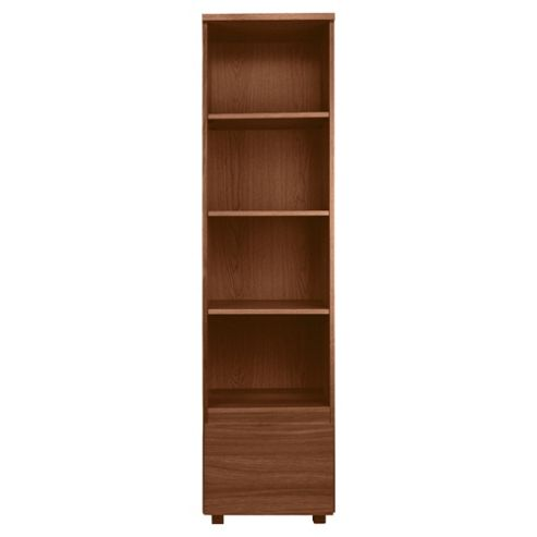 Maddox 1 Drawer Single Bookcase, Walnut