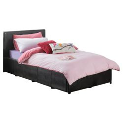 Eden Single Faux Leather Ottoman Bed Frame, Black
