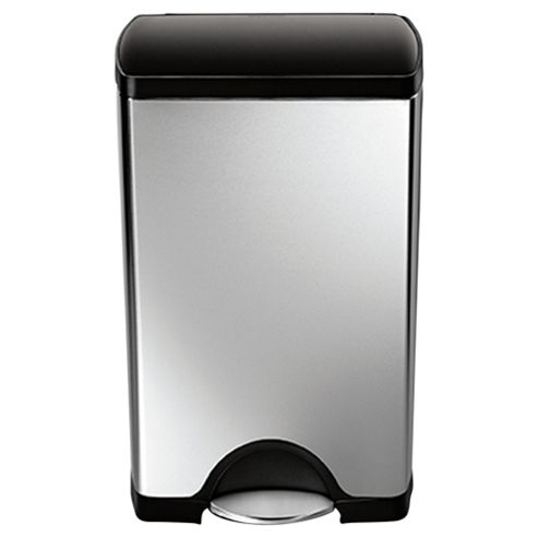Simplehuman Brushed Stainless Steel Rectangular Pedal Bin 38L with Black Lid