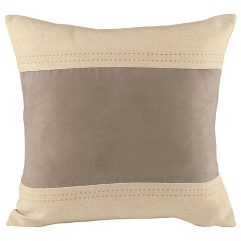 Tesco Set of 2 Linen & Faux Suede Cushion Covers, Taupe