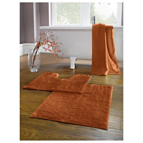 buy tesco pedestal and bath mat set burnt orange from our