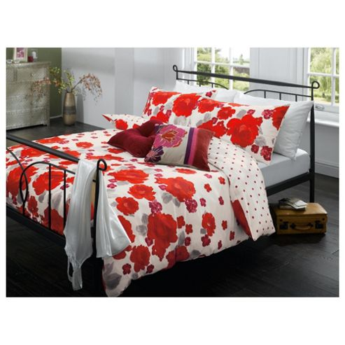 Tesco Painterly Floral Print Double Duvet Cover Set ? Cherry