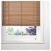 Wood Venetian Blind W105 x Drop 160cm, 35mm Slats, Oak Effect