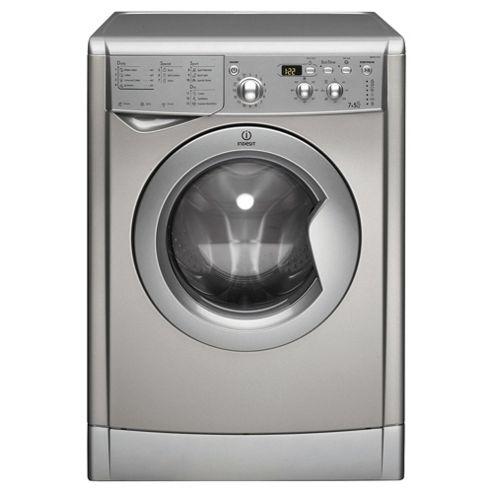 Indesit IWDD7123S Freestanding Washer Dryer, 7Kg Wash Load, B Energy Rating, Silver