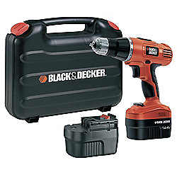 BLACK+DECKER EPC148BK 14.4v Ni-Cd Cordless Hammer Drill with 2 Batteries & Kitbox