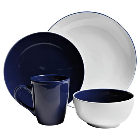 Tesco Coupe 2 Tone 16 Piece, 4 Person Dinner Set, Blue