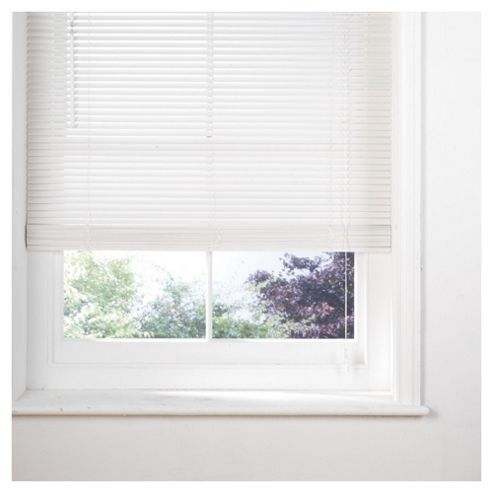 Tesco Wood Venetian Blind 90Cm 25Mm Slats 210Cm Drop, Pure White