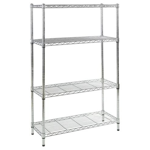 Clarke 4-tier boltless wire shelving, chrome-effect