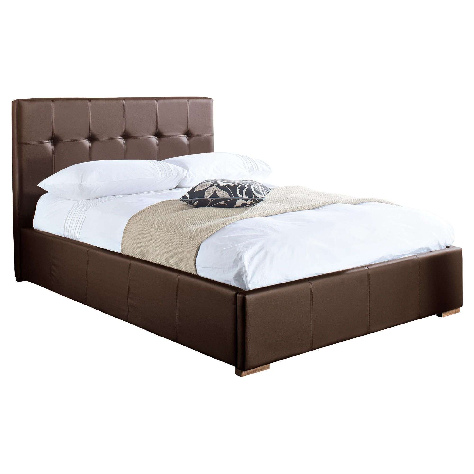 Orleans King Storage Bed, Brown Faux Leather at Tescos Direct