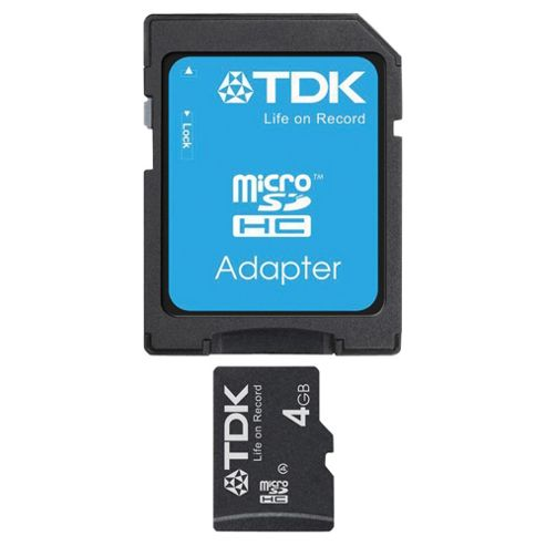 TDK MicroSDHC memory card with Adapter Class 4 - 4GB