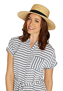 F&F Straw Boater - Natural