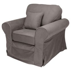 Louisa Fabric Armchair, Charcoal Loose Cover