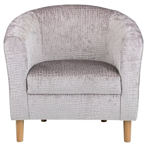 Tub Chair Velvet Effect Silver