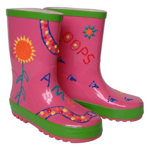 Children's Paint Your Own Pink Rain Boots - Large