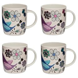 Tesco Love Birds Set of 4 Mugs