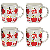 Tesco Retro Fruit Set of 4 Mugs, Apple