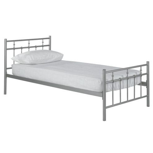 Caen Single Metal Bed Frame, Silver