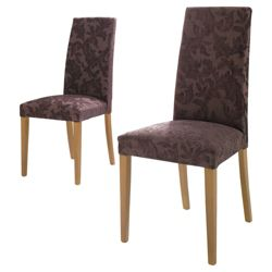 Lucca Pair Of Chairs Oak Legs & Brown Damask.