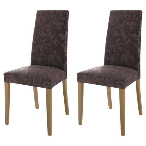 Lucca Pair Of Chairs Oak Legs & Brown Damask