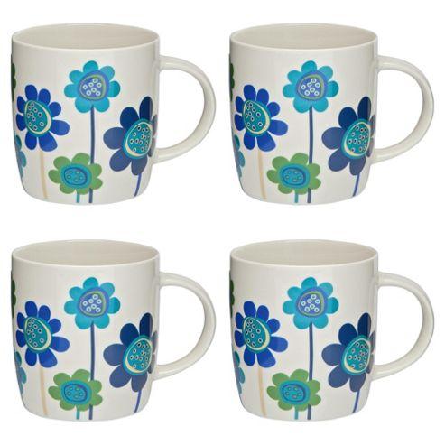 Tesco Funky Floral Set of 4 Mugs, Blue