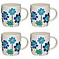 Tesco Funky Floral Set of 4 Mugs, Blue