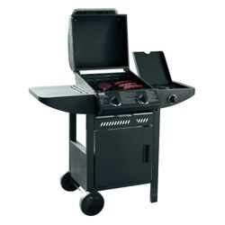 Tesco 2 Burner Gas BBQ with Side Burner & Cabinet