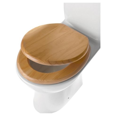 Tesco wooden Pin toilet seat - Beech effect