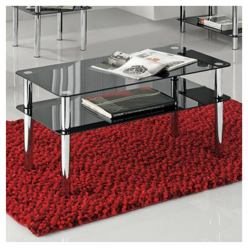 Atom Chrome & Glass Coffee Table, Black