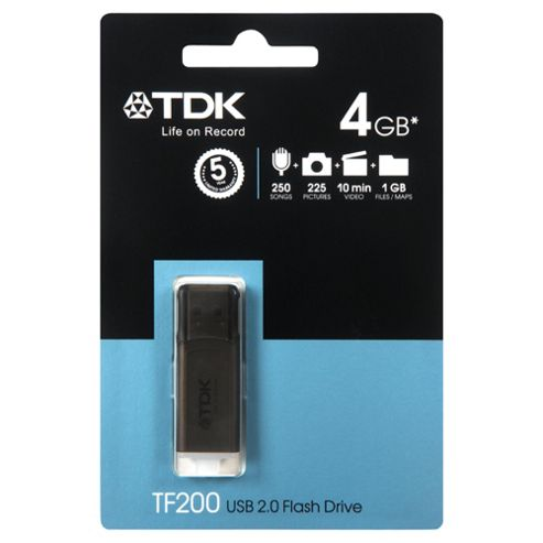 TDK C-TRU TF200 USB Flash Drive, Black - 4GB