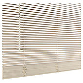 Wood Venetian Blind 60cm 25mm Slats 210cm Drop, Chalk