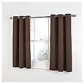Tesco Plain Canvas Unlined Eyelet Curtains - Chocolate