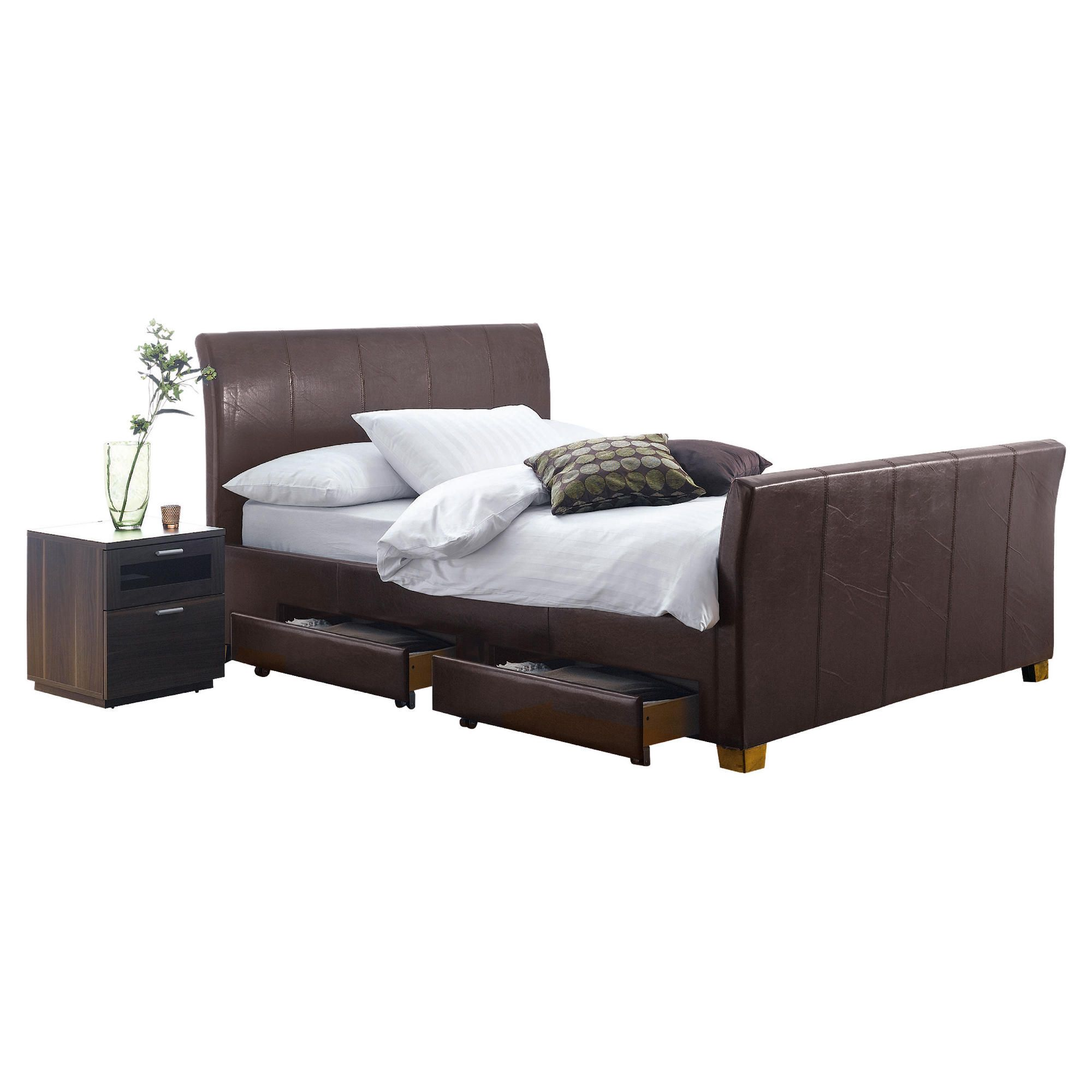 Rayne King Faux Leather Bed Frame with 4 Drawers, Brown at Tesco Direct