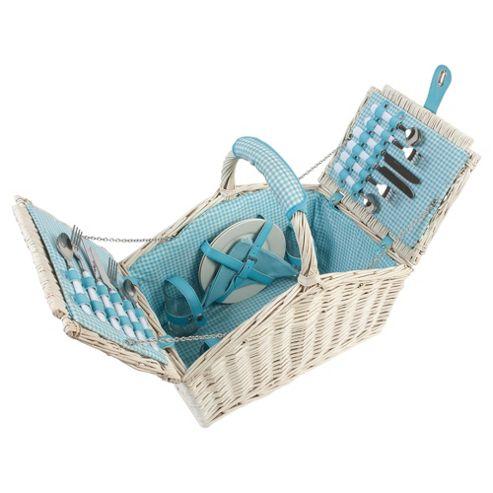 Navigate Vintage 4 Person Picnic Basket Set, Blue Gingham