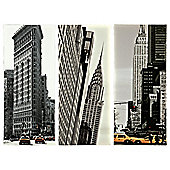 Set of 3 New York buildings canvas