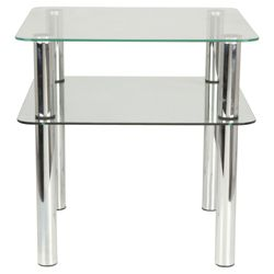Atom Chrome & Glass Side Table With Shelf, Clear