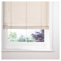 Wood Venetian Blind 105cm 35mm Slats, Cream