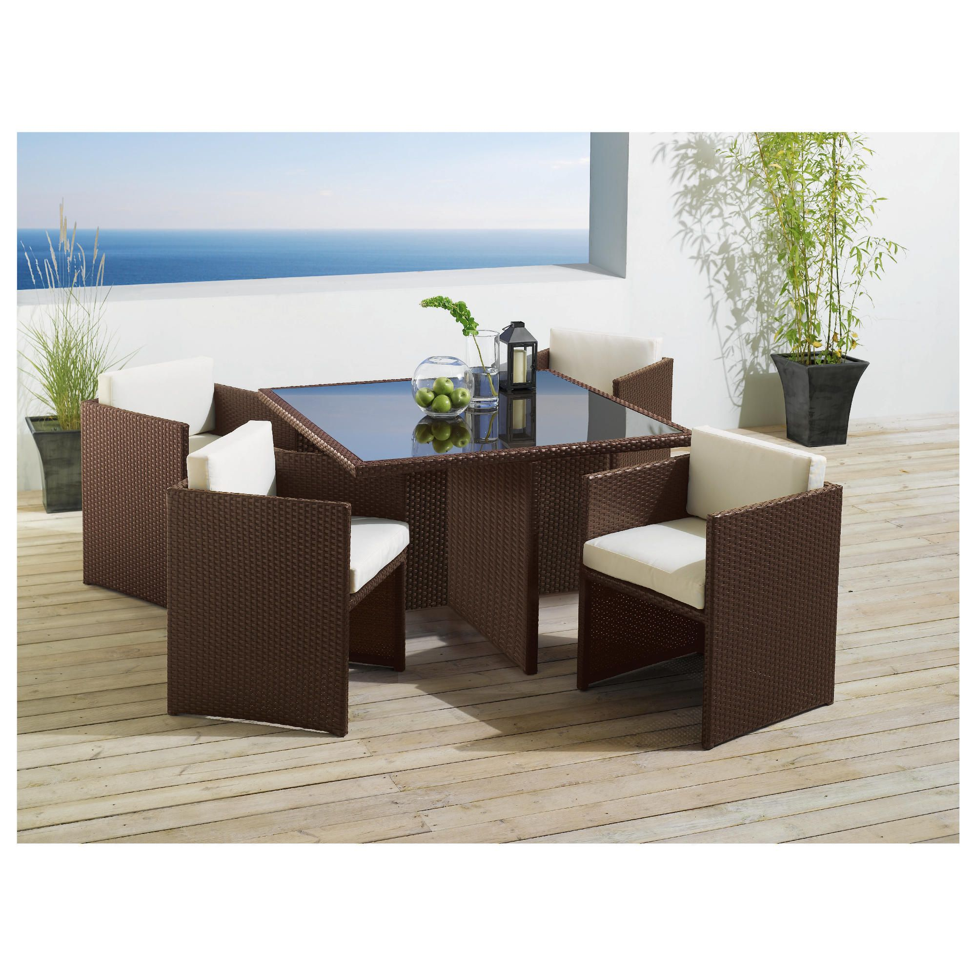 Cuba 4 Seater Hideaway Set, Brown at Tesco Direct