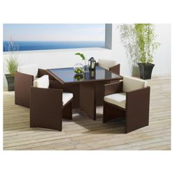 Cuba 4 Seater Hideaway Set, Brown