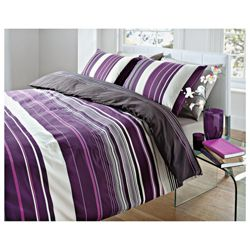 Tesco Kieran Stripe Print Single Duvet-Plum